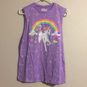 Lisa Frank Splatter Lavender Unicorn Muscle Top